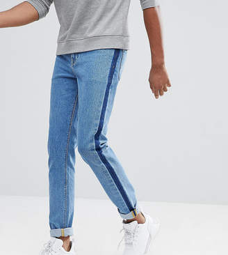 Asos DESIGN TALL Skinny Jeans In Mid Wash Blue With Side Stripe