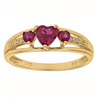 JCPenney FINE JEWELRY Lab-Created Ruby and Diamond-Accent 3-Stone Heart Ring