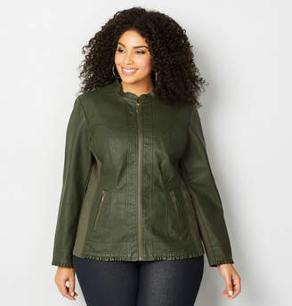 Avenue Ruffled Trim Faux Leather Jacket