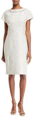 Rickie Freeman For Teri Jon Jacquard Short-Sleeve Dress w/ Pearly Detail