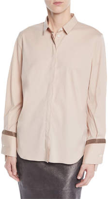 Brunello Cucinelli Cotton Poplin Shirt w/ Monili Cuffs