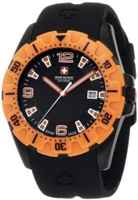 Swiss Military Calibre Men's 06-4M1-13-007.79 Marine Black PVD Orange Bezel Rubber Date Watch