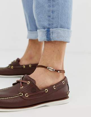 Asos Design DESIGN suede anklet with shell charm in brown