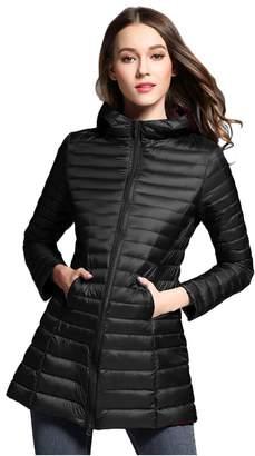 Elezay Women's Winter Light Weight Down Jacket Hooded Coat XS