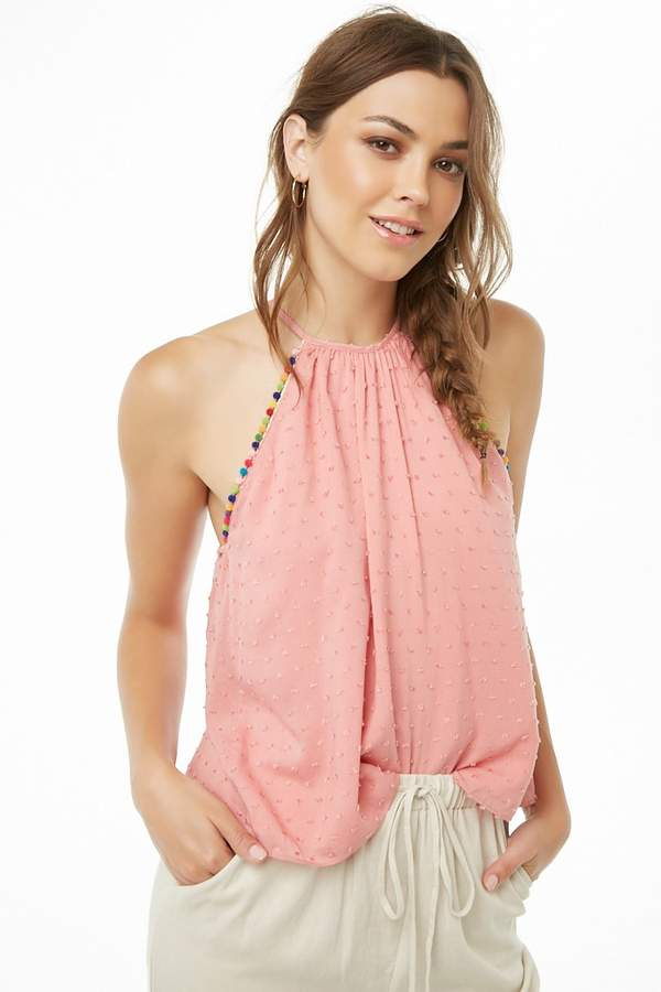 Forever 21 Textured Dot Pom Pom-Trim Cami