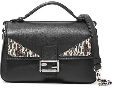 Fendi - Double Baguette Micro Elaphe-trimmed Leather Shoulder Bag - Black