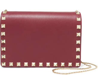 Valentino Garavani The Rockstud Leather Shoulder Bag - Burgundy