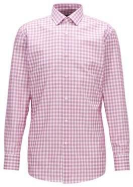 BOSS Hugo Checked Cotton Dress Shirt, Sharp Fit Marley US 14.5/R Dark pink