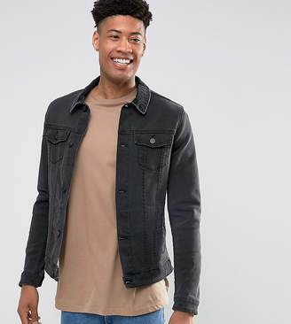 Asos DESIGN Tall denim jacket in skinny fit in black with cord collar