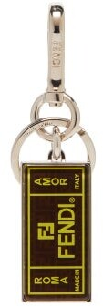 Fendi Logo Print Key Ring - Mens - Brown