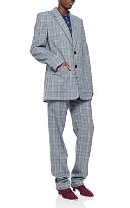 Tibi James Menswear Check Long Blazer