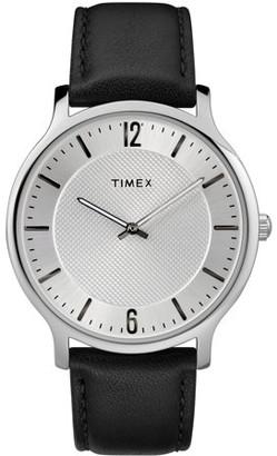 Timex Men's Metropolitan 40mm Black/Silver-Tone Watch, Leather Strap