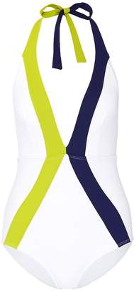 Flagpole Swim 'Jade' stripe halterneck one-piece swimsuit