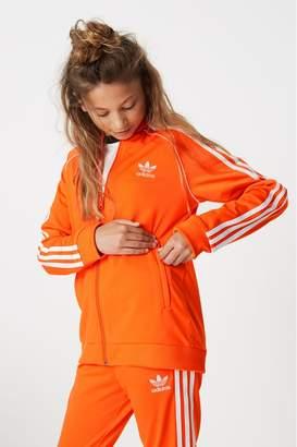 adidas Girls Orange Superstar Track Top - Orange