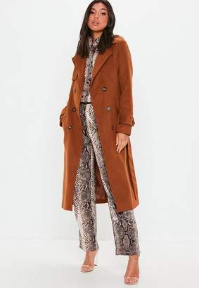 Missguided Brown Formal Wool Trench Coat
