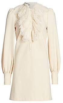 Gucci Women's Lace Ruffle Compact Jersey Shirtdress