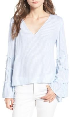 Women's Bp. Stripe Bell Sleeve Blouse $55 thestylecure.com