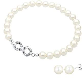 Elli Women's 925 Sterling Silver Xilion Cut Crystal Simulated Pearl Jewellery Set
