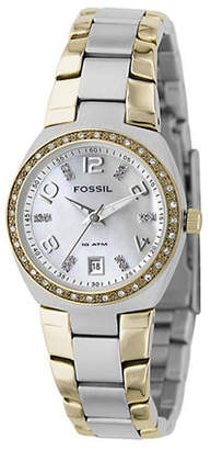 Fossil Mother of Pearl Dial With Two Tone Bracelet Watch