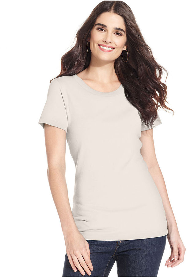 Style&Co. Top, Short-Sleeve Crew-Neck Solid Tee