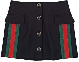 Gucci Kids' Stripe-Appliquéd Wool-Cashmere Skirt