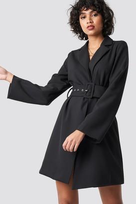 36870f344d NA-KD Wide Sleeve Belted Blazer Dress Beige
