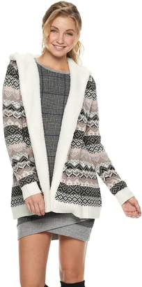 Almost Famous Juniors' Sherpa-Lined Hooded Cardigan