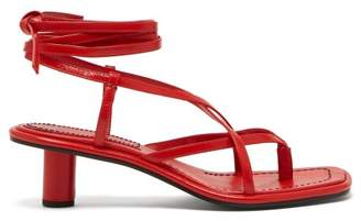 f04c77c8958 Proenza Schouler Cylindrical Heel Wrap Around Leather Sandals - Womens - Red
