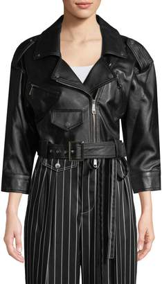 Carolina Herrera Women's Crop Leather Jacket
