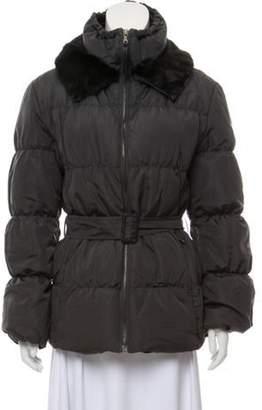 Prada Fur-Trimmed Belted Puffer Coat Grey Fur-Trimmed Belted Puffer Coat