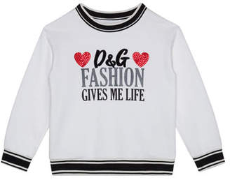 Dolce & Gabbana Girl's Fashion Gives Me Life Sweatshirt, Size 4-6