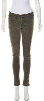 Rag & Bone Mid-Rise Leather-Accented Jeans