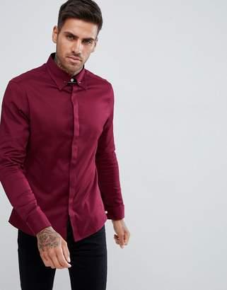 Asos Design DESIGN slim twill shirt with collar bar in burgundy