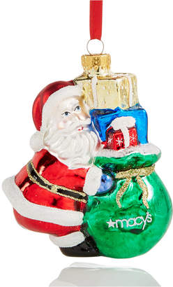 Holiday Lane Glass Santa with Macy's Gift Bag Ornament