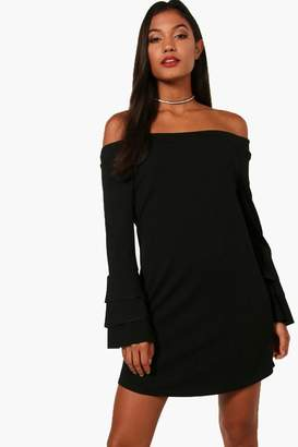 boohoo Tiered Sleeve off Shoulder Shift Dress