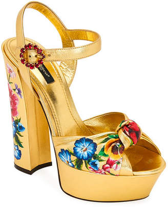 Dolce & Gabbana Floral-Print Metallic Leather Platform Sandals