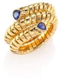 Marina B Trisola Sapphire& 18K Yellow Gold Coil Ring