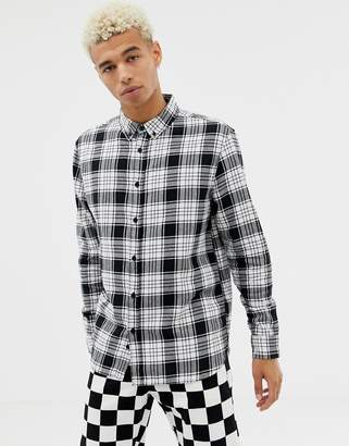 Bershka check shirt in black and white with button down collar