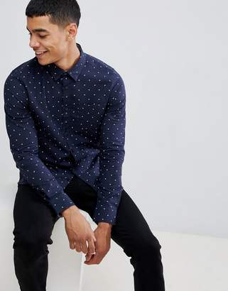 Burton Menswear long sleeve oxford shirt with polka dot print in navy