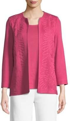 Misook Round-Neck Soutache Jacket
