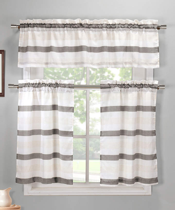 Gray & White Akua Three-Piece Curtain Panel Set
