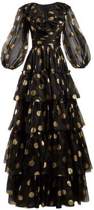 Dolce & Gabbana Polka Dot Print Tiered Silk Organza Gown - Womens - Black Gold