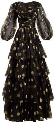 eeb3cfc1c5d8 Dolce   Gabbana Polka Dot Print Tiered Silk Organza Gown - Womens - Black  Gold