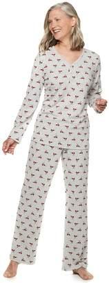 Croft & Barrow Women's Textured Henley Pajama Set