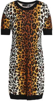 Love Moschino Leopard-Print Wool-Blend Mini Dress