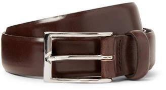 J.Crew 3cm Dark-Brown Glossed-Leather Belt - Brown