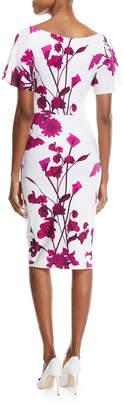Chiara Boni Arifa Floral-Print Ruffle-Sleeve Cocktail Sheath Dress