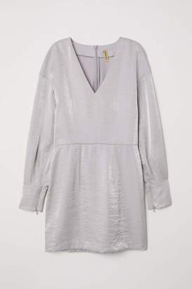 H&M Shimmery Metallic Dress - Silver-colored - Women