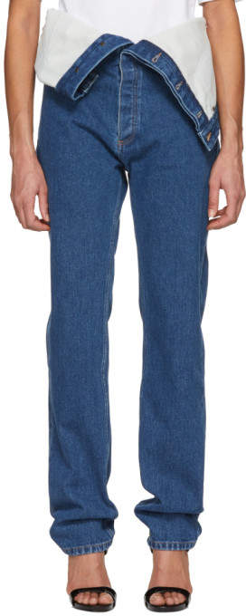 Y-project Navy Long Crotch Jeans
