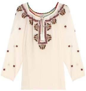 Joie Embroidered Crinkled Silk-Georgette Blouse